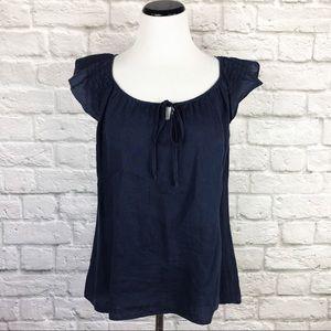 Ann Taylor LOFT blue linen top. Size 10